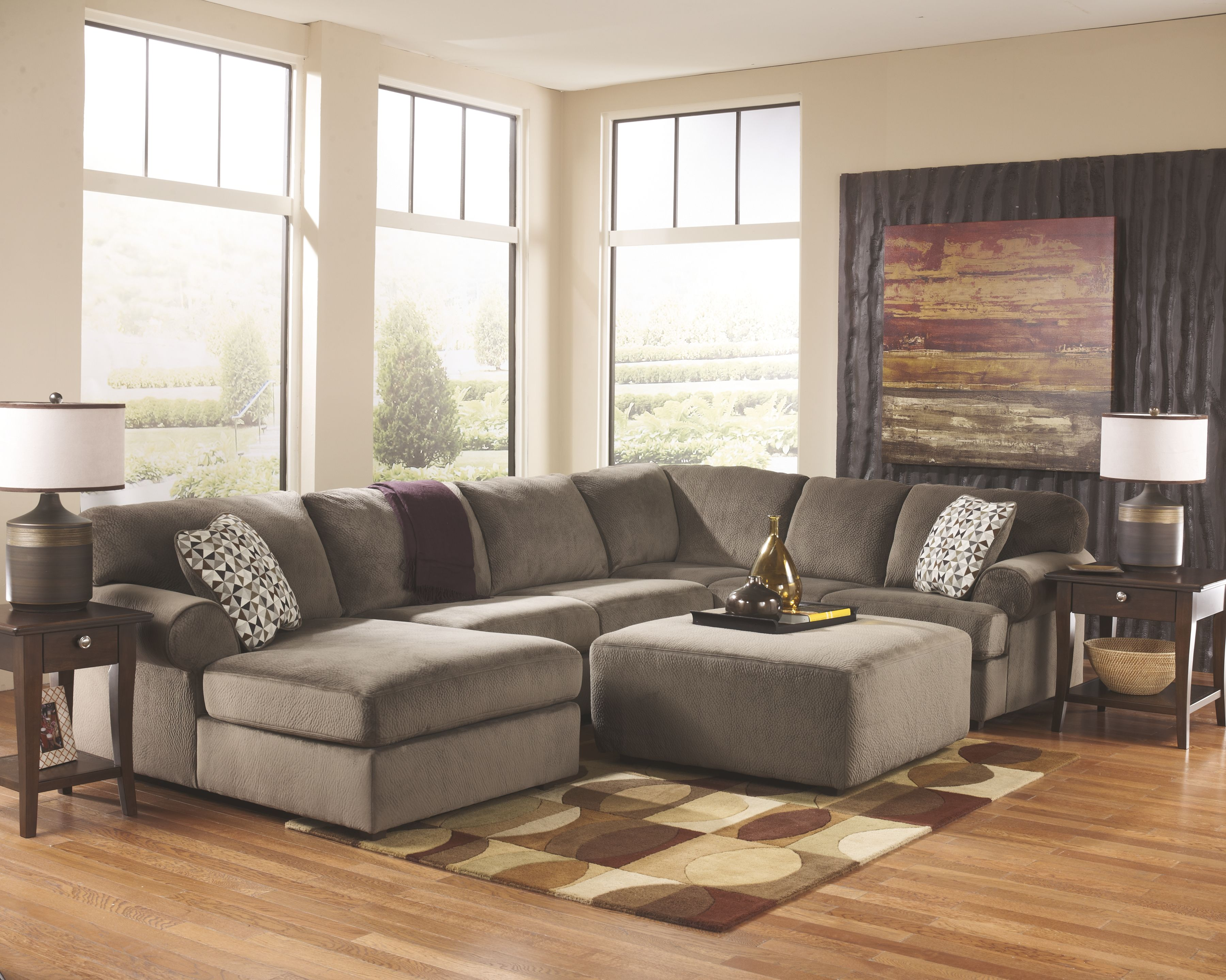 Jessa Place 3Piece Sectional with Ottoman Cheap living