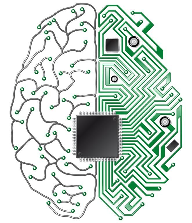 Microchip Style Brain Illustration