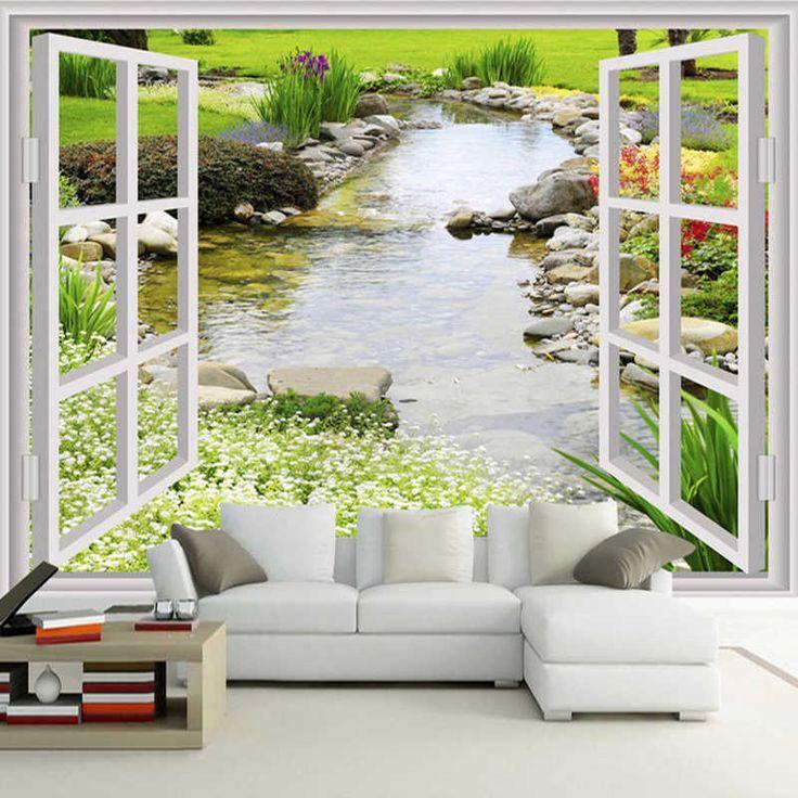 Benutzerdefinierte Wandbild Tapete Moderne Einfache 3d Fenster Garten Kleine Fluss Blume Gras Wandbilder Tapeten Wandbilder Schlafzimmer
