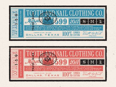 Really great, authentic looking vintage tag design -  Tooth & Nail Clothing Tags | Designer: Steve Wolf
