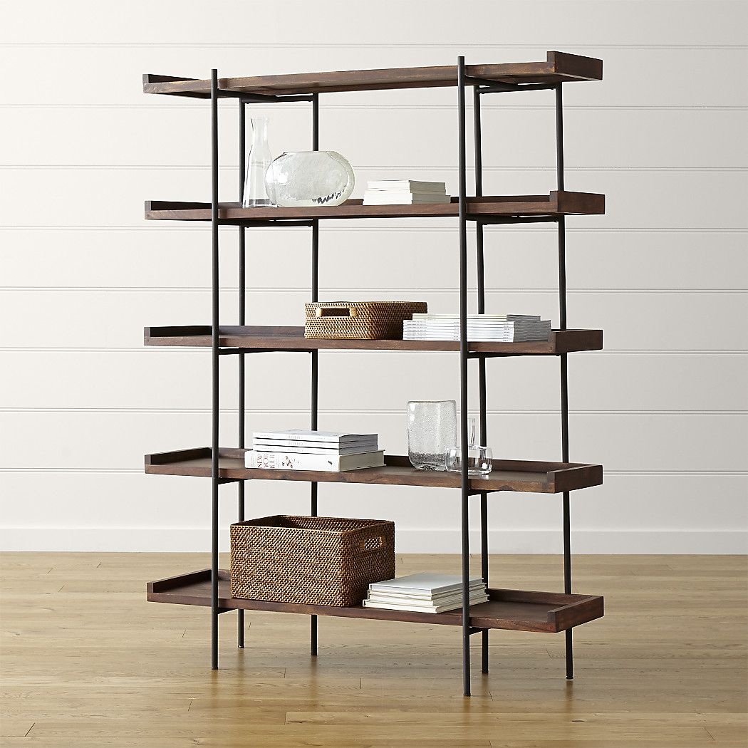 Shop Beckett 5 High Shelf. Wood Shelves Stack Five High For Lots Of Storage  With Leather Tabs In Back For Distinctive Detail. Unique Graining, Knots,  Splits ...