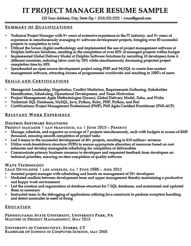 Resume Samples By Job Title Project manager resume