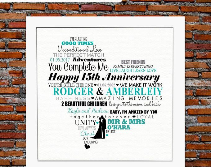 Personalized 15th Anniversary Gift 15th Wedding Anniversary Gift