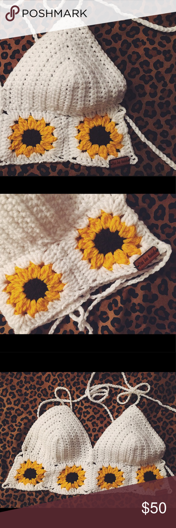 bb7a3cf4f30b38 Sunflower Crochet Top • brand new bought off Etsy   never wore • sunflower  crochet top • strappy detailing in the back Tops Crop Tops