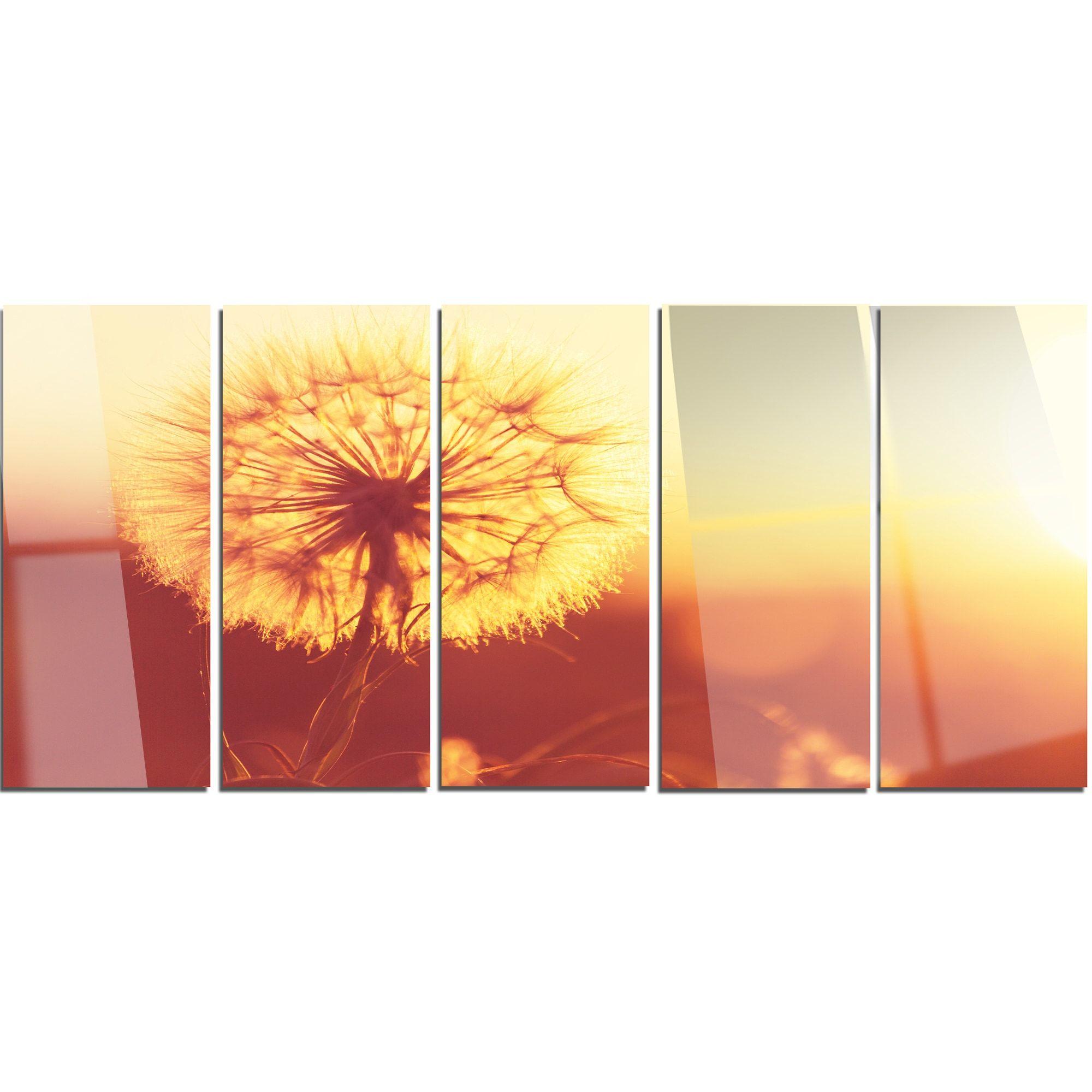 Designart ublossom dandelion yellow flower on brownu large flower