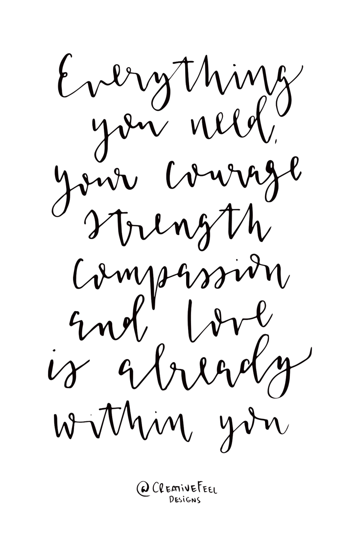 Modern calligraphy inspirational quote! Everything you need, your courage, strength, compassion and love is already within you!