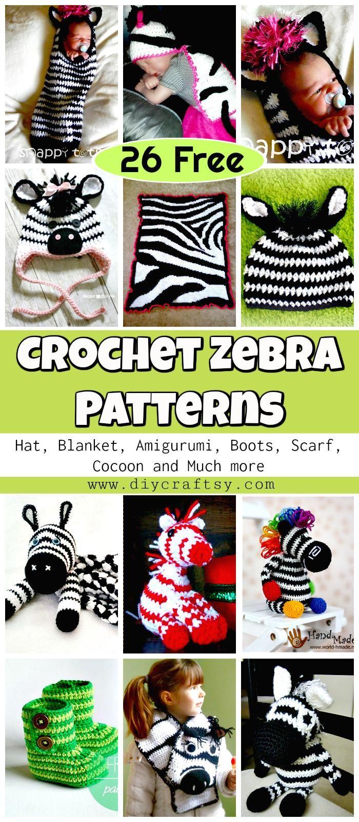 26 Free Crochet Zebra Patterns / Hat, Blanket, Amigurumi | Patrón ...