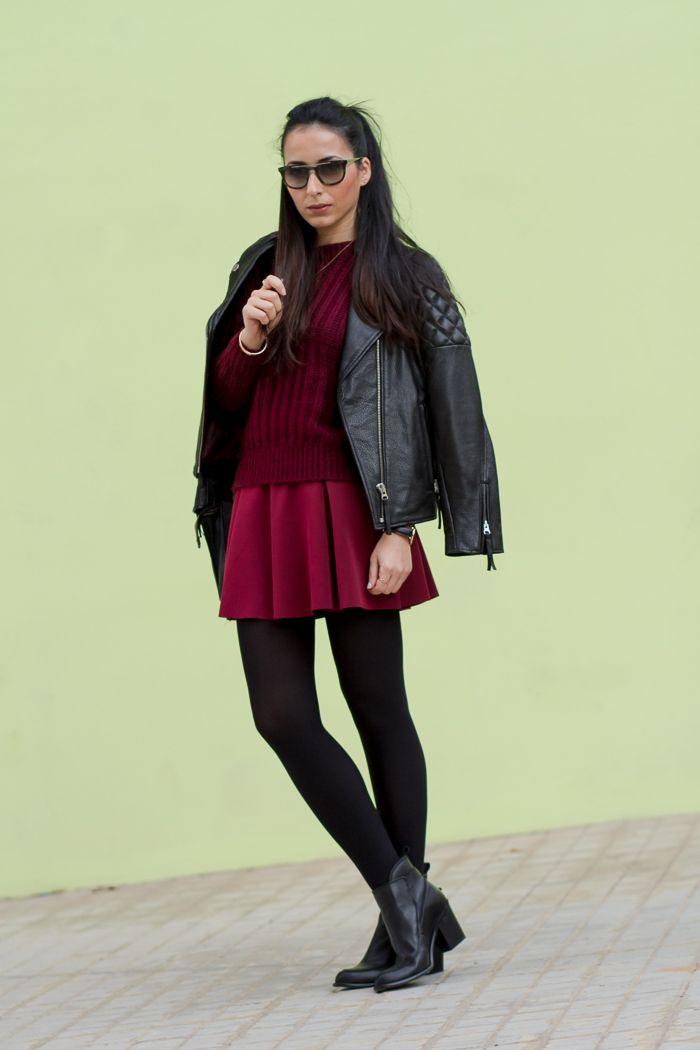 Granate De Vuelo Burgundy Jersey Neopreno Vino Outfit Y Mohair Falda q4CZ5R5w
