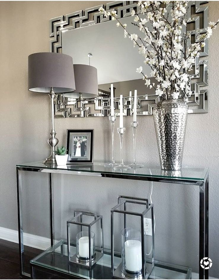 Glass Console Mirrored Finishes Entry Styling Decorative Lanterns Home Decor Transitional Design Home Decor Modern Console Tables Console Table Decorating