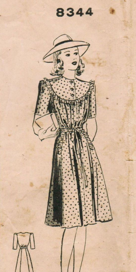 A very cute 1940s maternity dress pattern (Mail Order pattern number 8344). #vintage #sewing #pattern #1940s