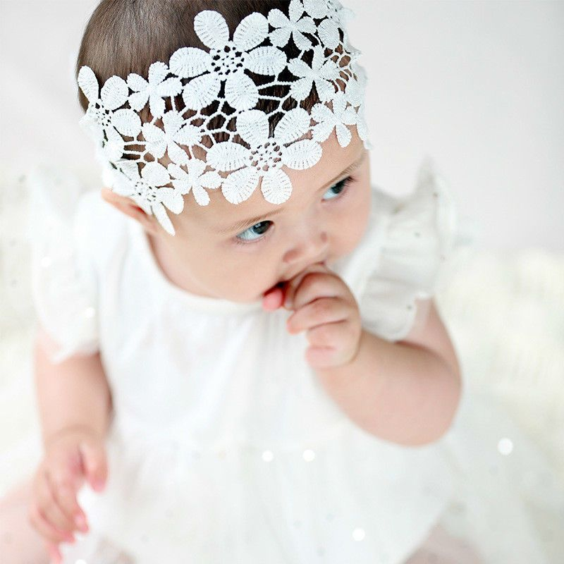 Ivory baby bow headband hair band for baptism christening satin bow with cross