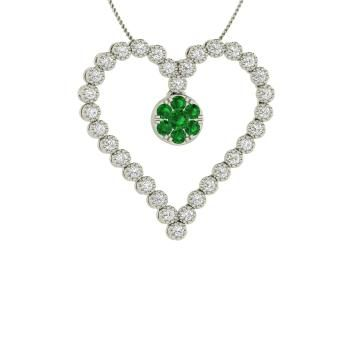 Round Emerald Necklace in 14k White Gold with SI Diamond