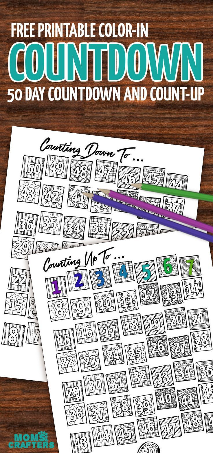 Grab This Fun Color In Countdown And Progress Tracker Countdown