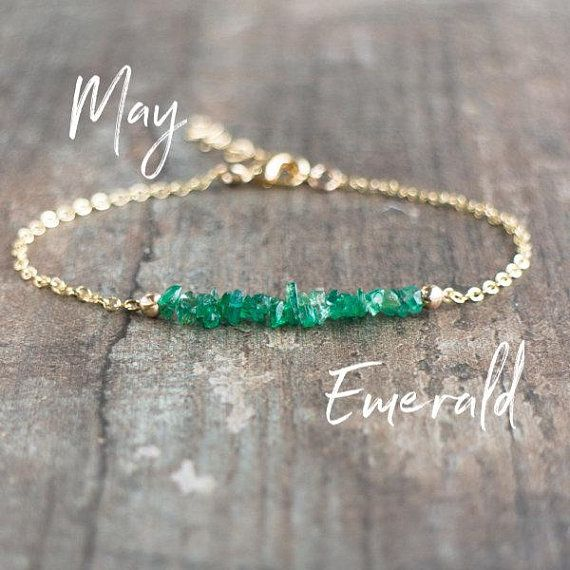 Photo of Emerald Bracelet, Gift for Mom, Gift for Wife, May Birthstone Bracelet, Emerald Jewelry, Gemstone Bracelet, Raw Stone Jewelry, Gift for Her