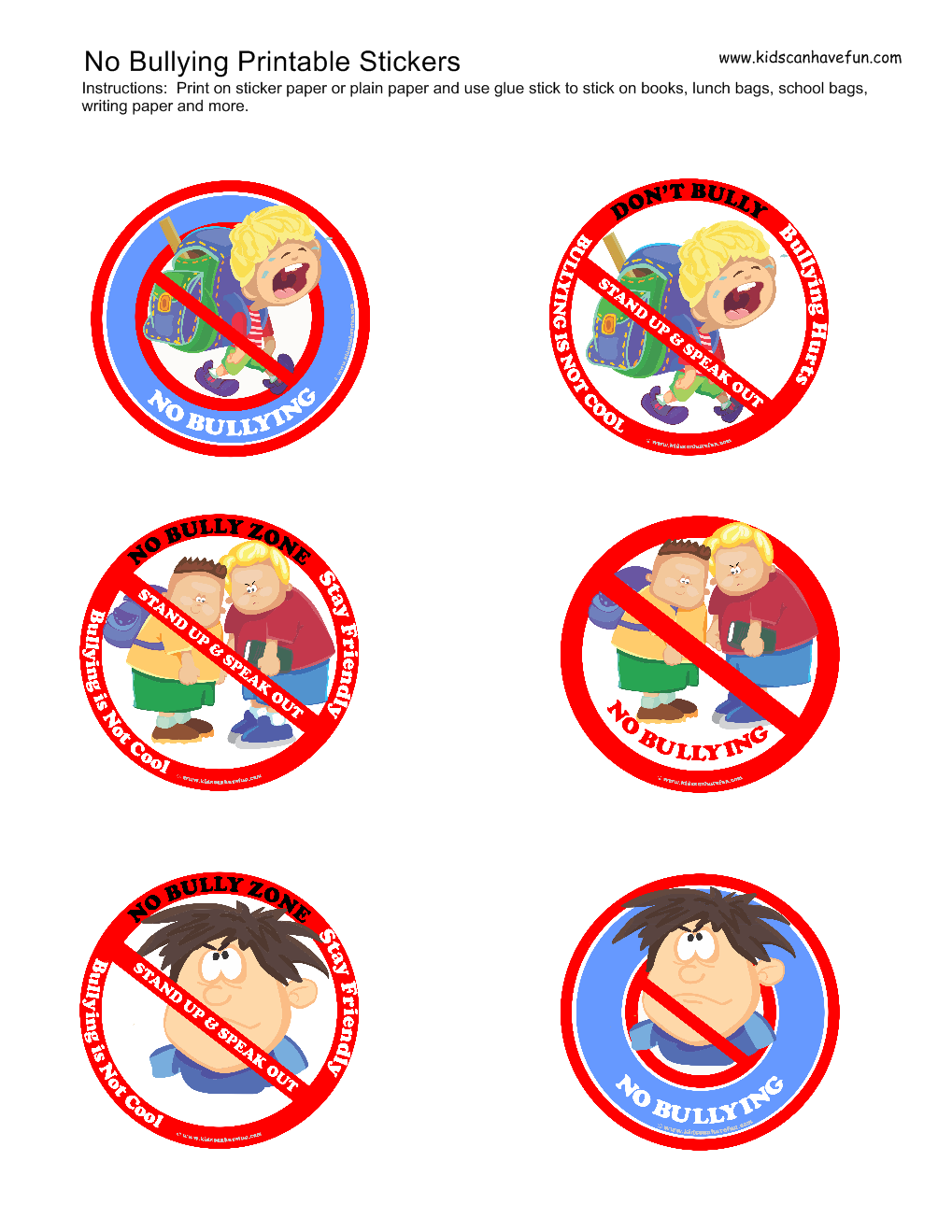Bullied By Badge >> No Bullying Stickers Behavioral Charts Bullying Worksheets Anti