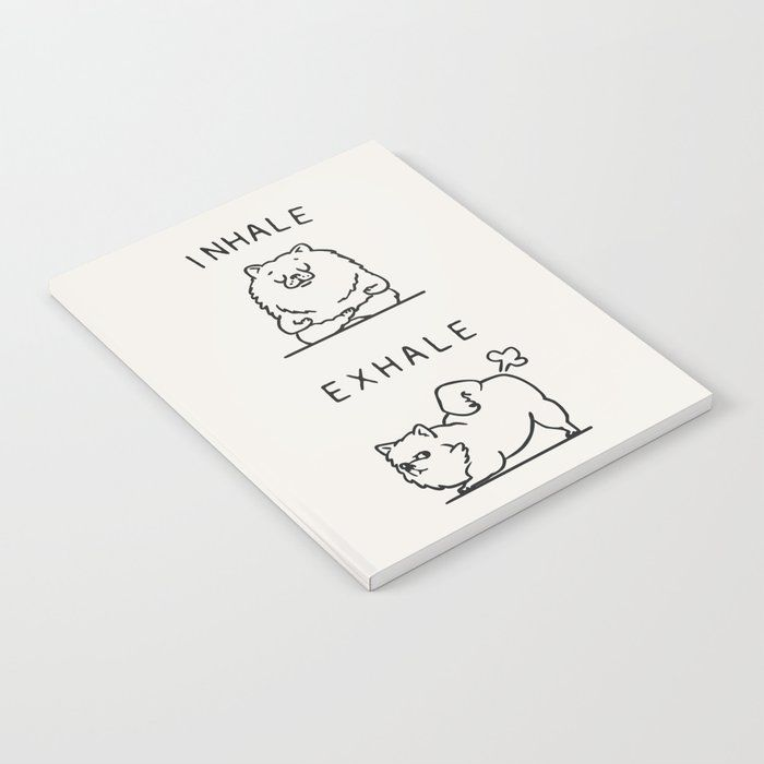 "Inhale Exhale Pomeranian Notebook by Huebucket - 6"" x 8"" Lined"
