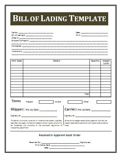 Printable Sample Bill Of Lading Template Form Real Estate Forms - printable resume format