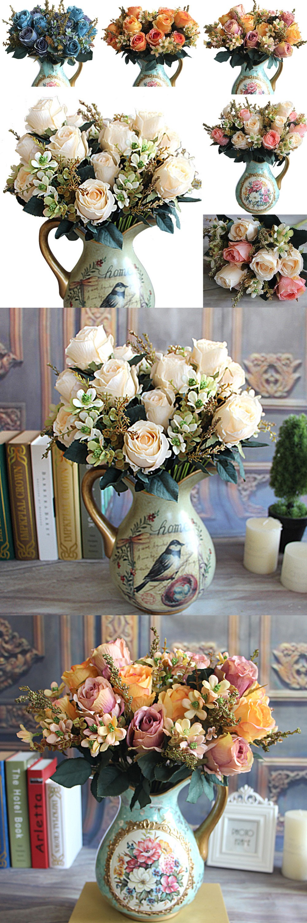 Beautiful Charming Delightful Palace Earl Rose Multi Color Artificial Flowers Hotel Wedding Home Decorative