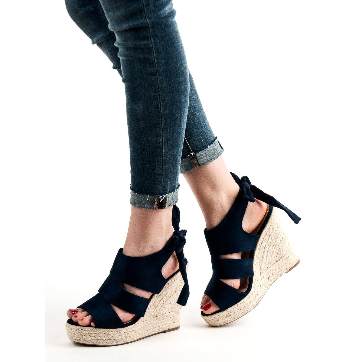 Cm Paris Granatowe Sandaly Na Koturnie Sandal Espadrille Wedge Espadrille Espadrilles