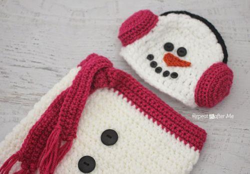 Crochet Snowman Ear Muff Hat and Cocoon   Pinterest