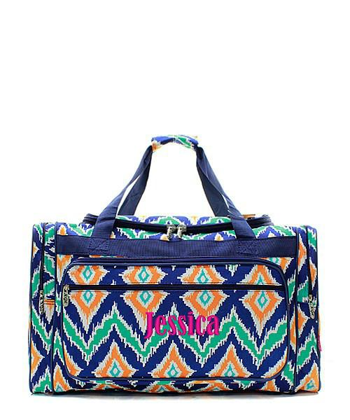 Turquoise and Gold Print Chevrons Weekender//Overnighter Bag