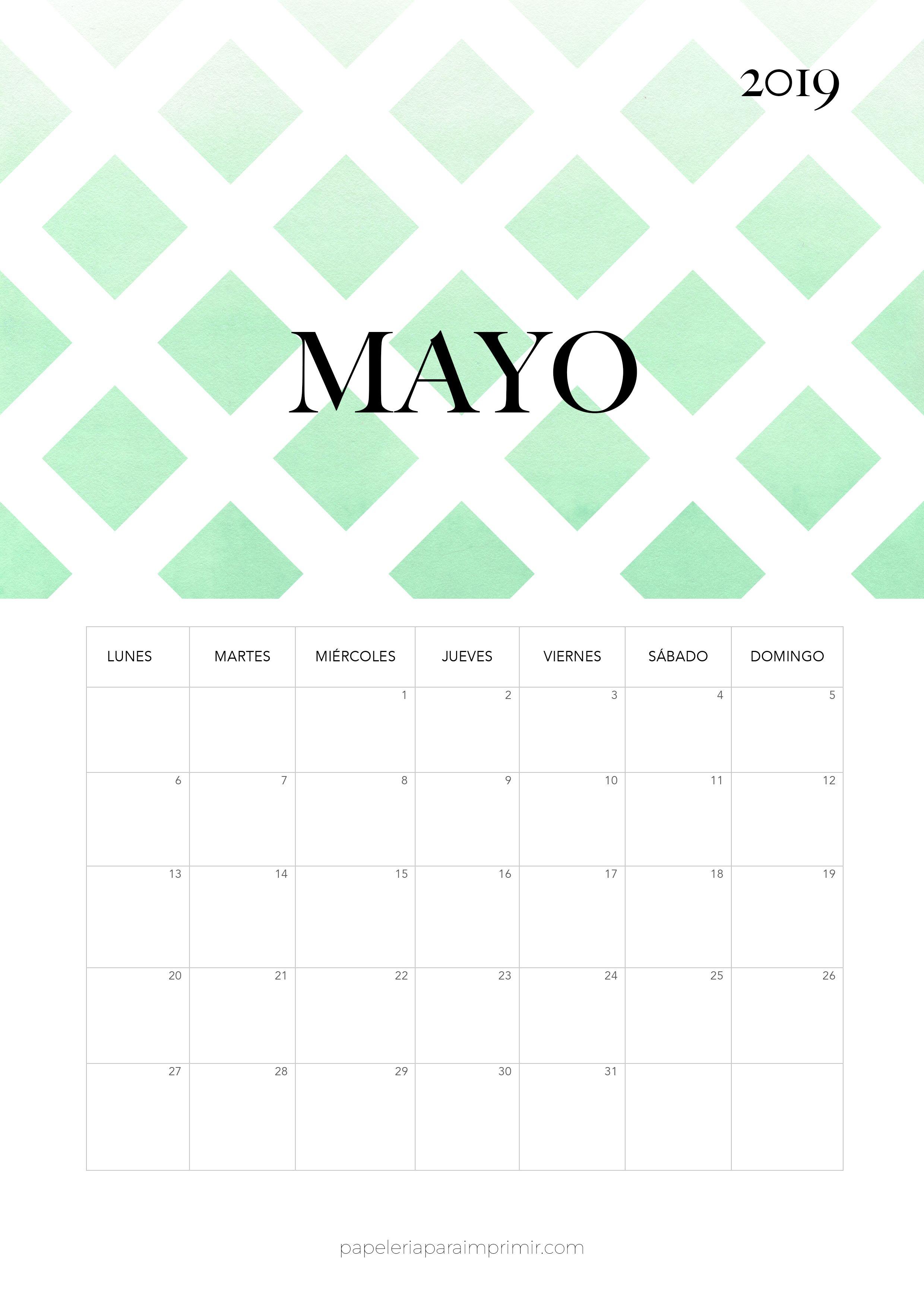 Calendario 2019 Moderno.Calendario 2019 Mayo Calendario Mensual Moderno De Estilo
