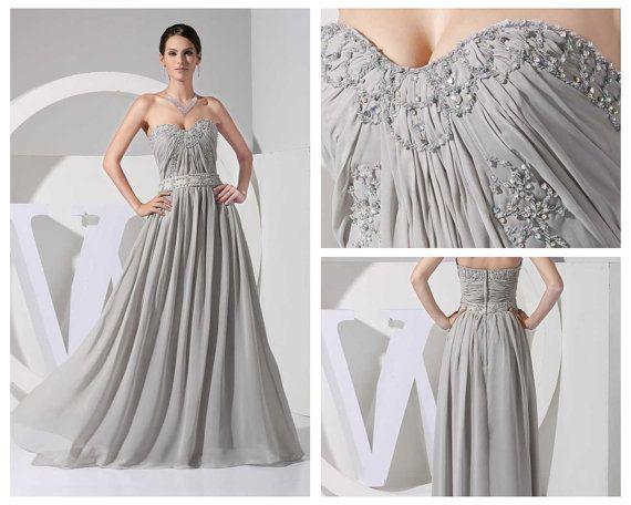 Gray prom dresses sweatheart chiffon beaded bridesmaid dress ...