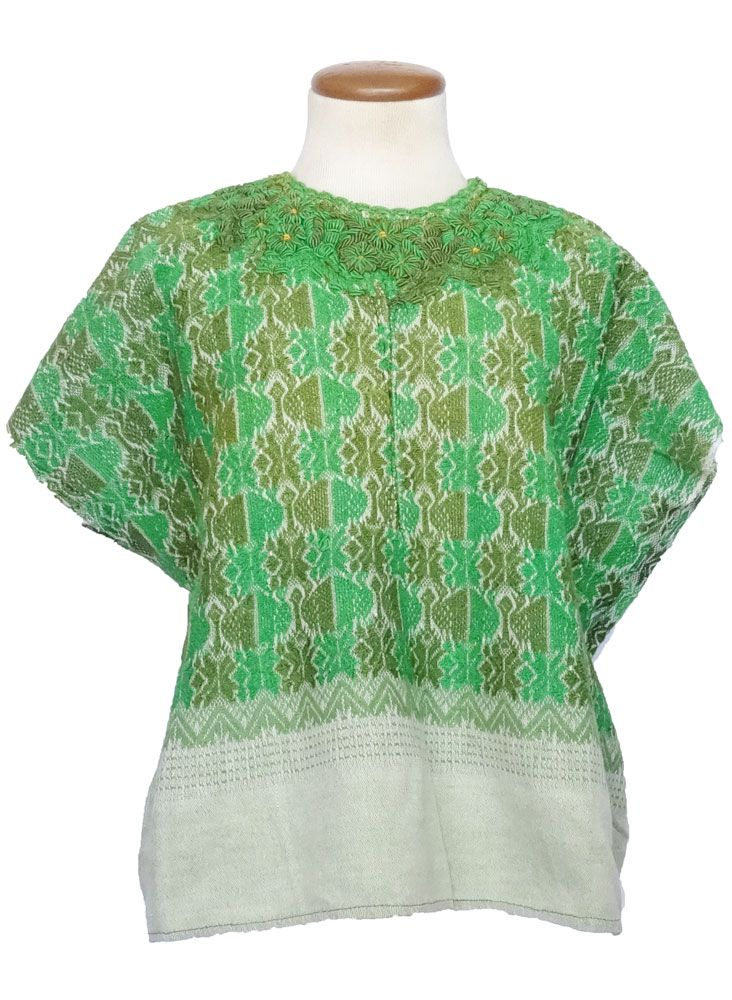 Traditional Green Floral Guatemalan Huipil Clothes Fashion Floral