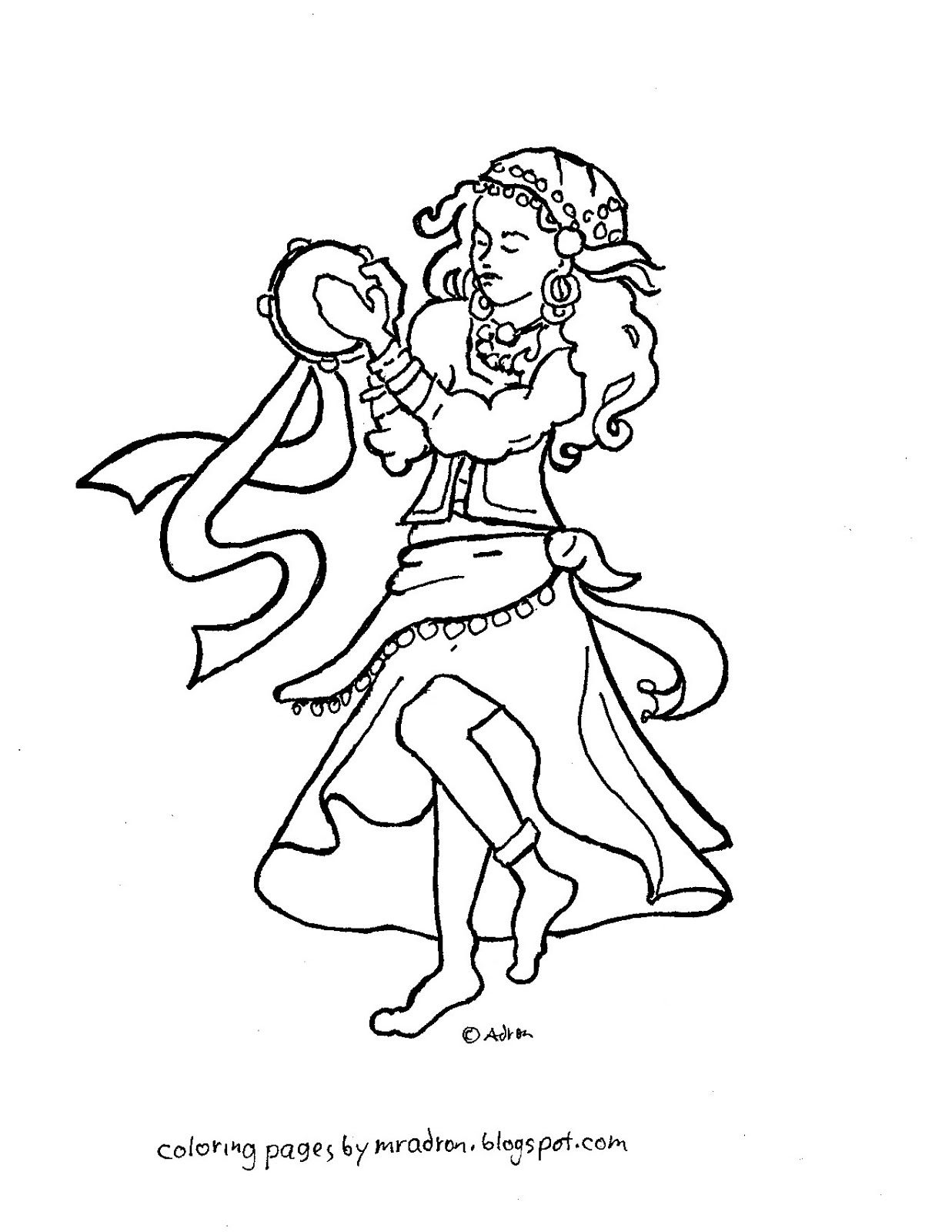 Coloring Pages for Kids by Mr. Adron: Esmeralda the Gypsy Girl ...
