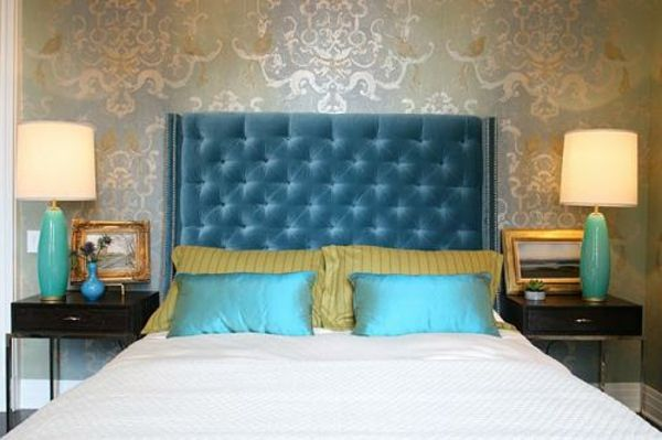 Schlafzimmer Dunkel ~ Kopfteile für betten samt türkis dunkel blau schlafzimmer