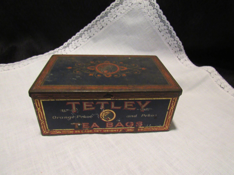 Vintage Tin Tetley Tea 1920 S Elephant Logo 25 Bags Advertising Memorabilia Food Beverage Packaging Graphics Beverage Packaging Tetley Tea Elephant Logo