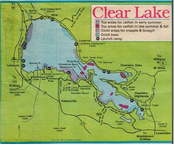 2017 clear lake fishing map and fishing report and for Clear lake fishing report