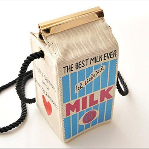 Popular Girls Peculiar Canvas Shoulder Bag Women Milk Cartons Crossbody Bags White