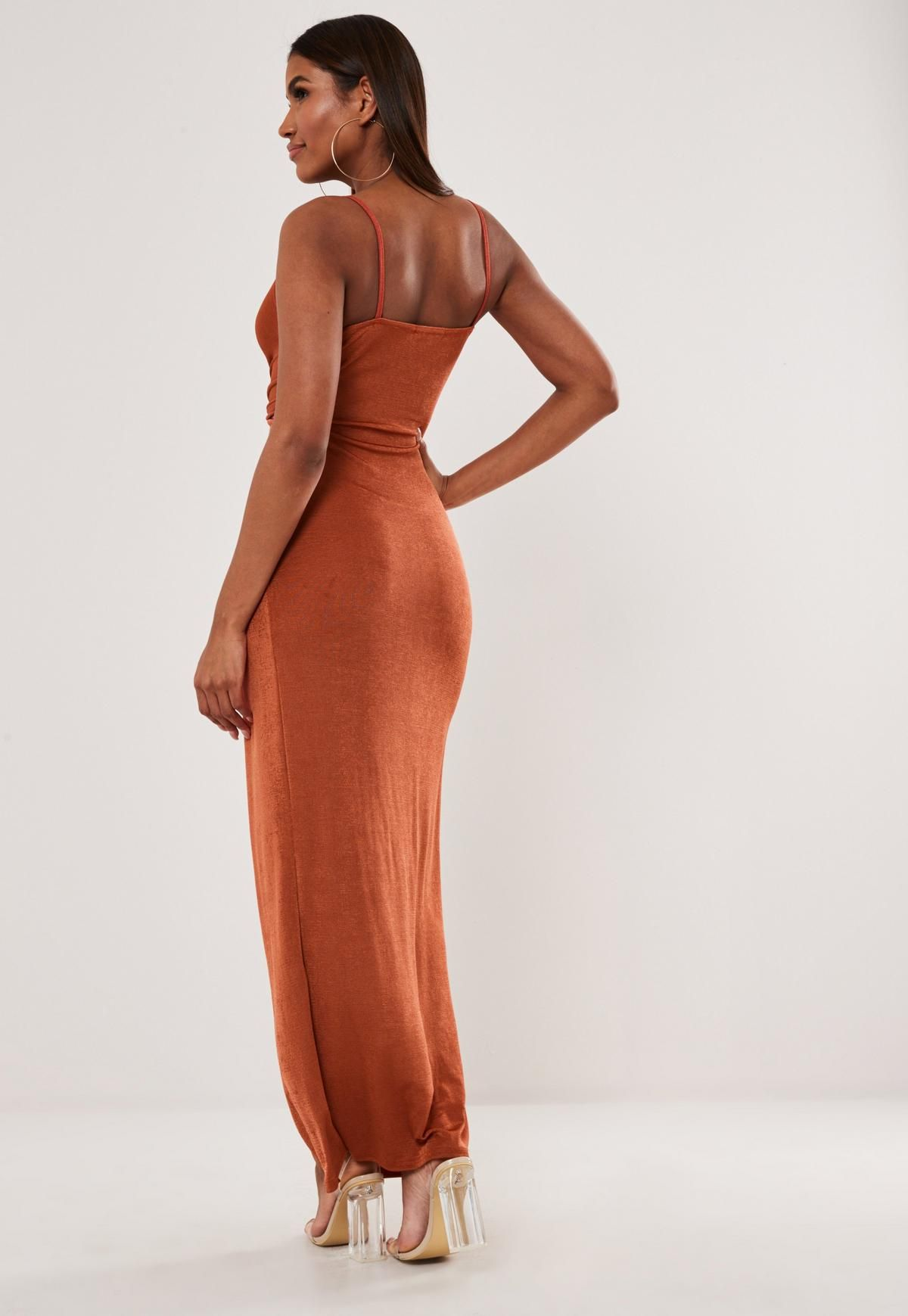 Rust Slinky Strappy Knot Maxi Dress Missguided Knot Maxi Dress Trending Dresses Dresses [ 1739 x 1200 Pixel ]