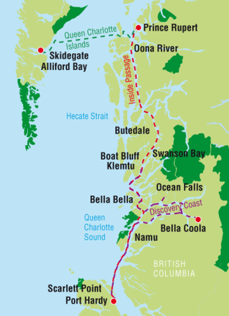 The Inside Passage Route Takes You From Port Hardy On Vancouver Island To Prince Rupert Kitimat Pacific Nw Vancouver Island Haida Gwaii Road Trip Planner