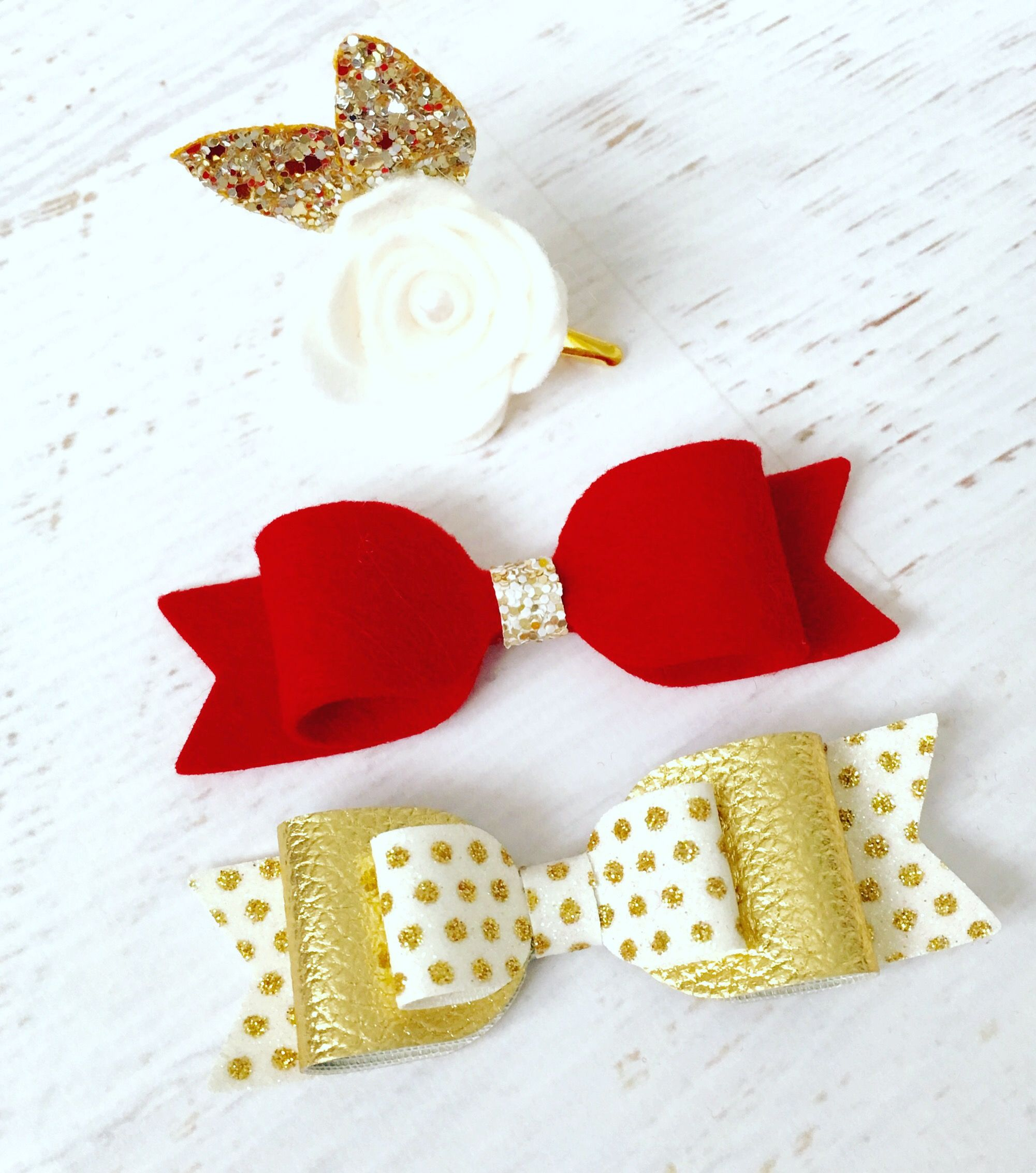 Girls Christmas Xmas Red And white Glitter Hair Bow Clip Large