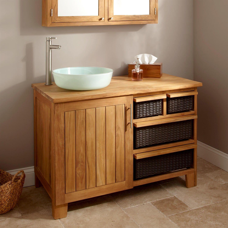 44 Covelo Teak Vessel Sink Vanity Teak Vanity Teak Bathroom Bathroom Cabinets Designs