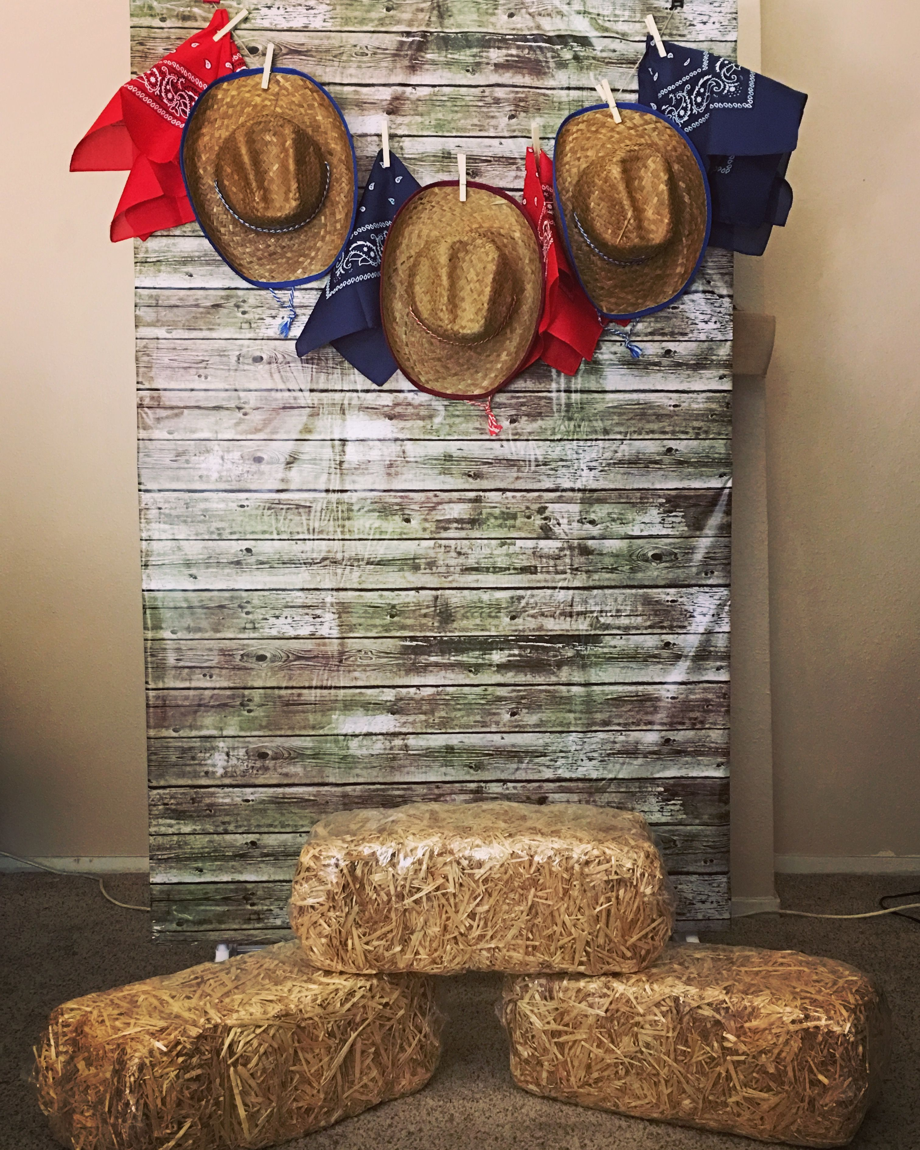 Diy backdrop out of a clothes rack and clamps western for Decoration western country
