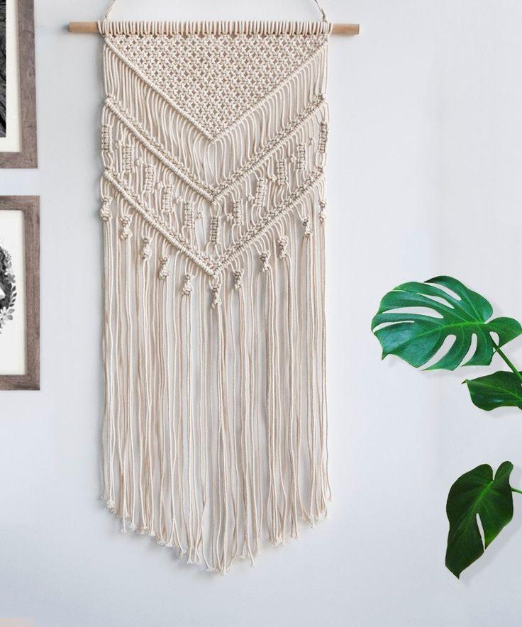 Macrame Woven Wall Hanging - Boho Chic Bohemian Home Geometric Art Decor