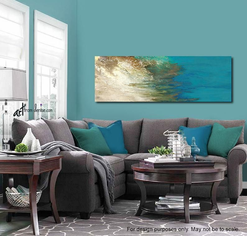 Teal Blue Green Panoramic Wall Art Canvas Abstract Etsy Living Room Turquoise Living Room Color Schemes Living Room Color