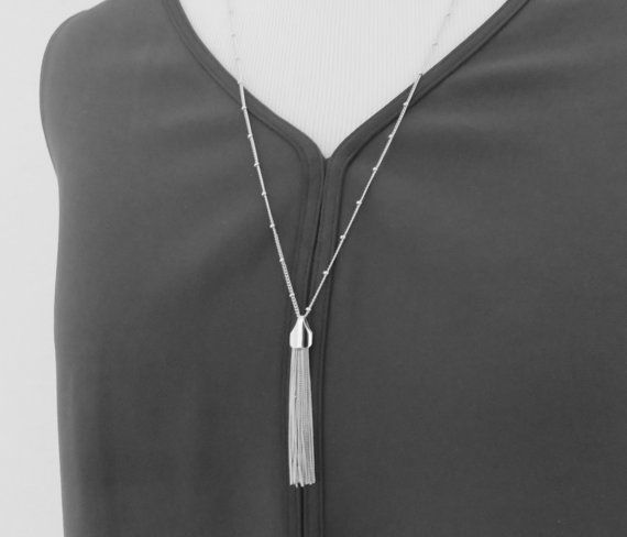 Silver Tassel Necklace, layered necklace, celebrity jewelry, fringe necklace, fringe necklace, long necklace, silver tassel, trendy jewelry,
