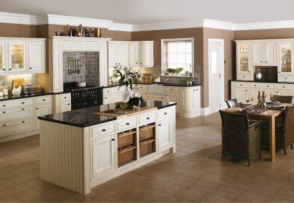 Beyaz Country Mutfak Modelleri Dolap Kapak Zemin Ve Tezgah