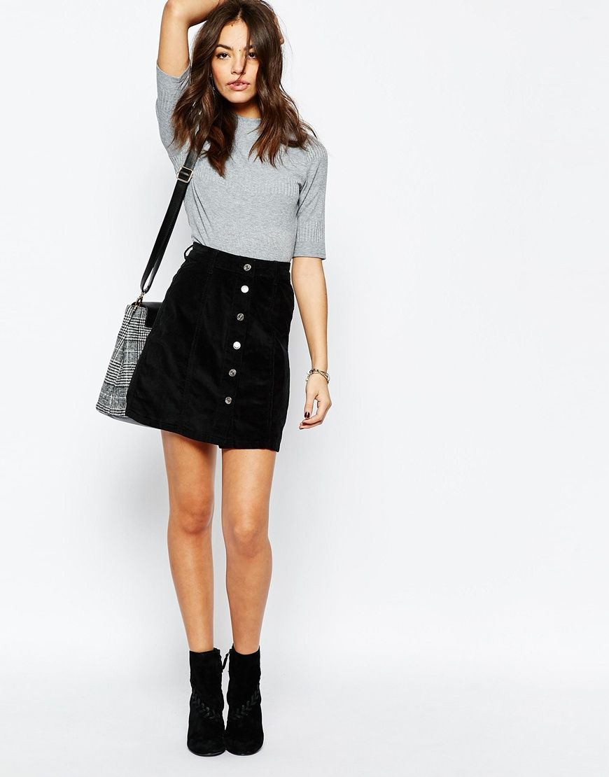 6c22c6b047 New Look Cord Button A-Line Skirt | Playing Stylist in 2019 | A line ...