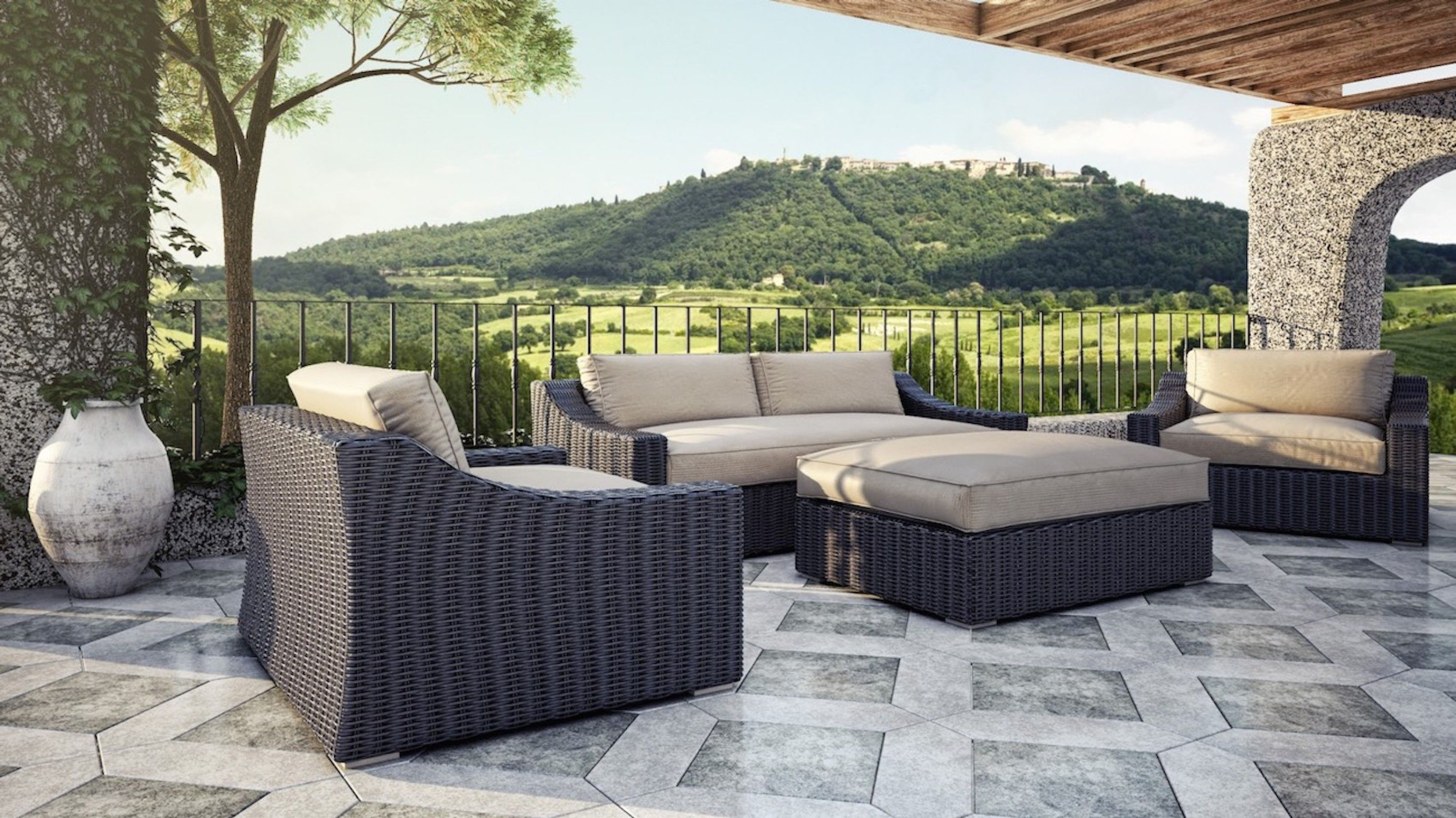 Tuscan Couch Set 3 200 Includes Couch 2 Large Arm Chairs Ottoman All Cushions Made With Sunbrella Fabric Ottoman Includ Outdoor Furniture Sets Outdoor Garden Furniture Outdoor Furniture