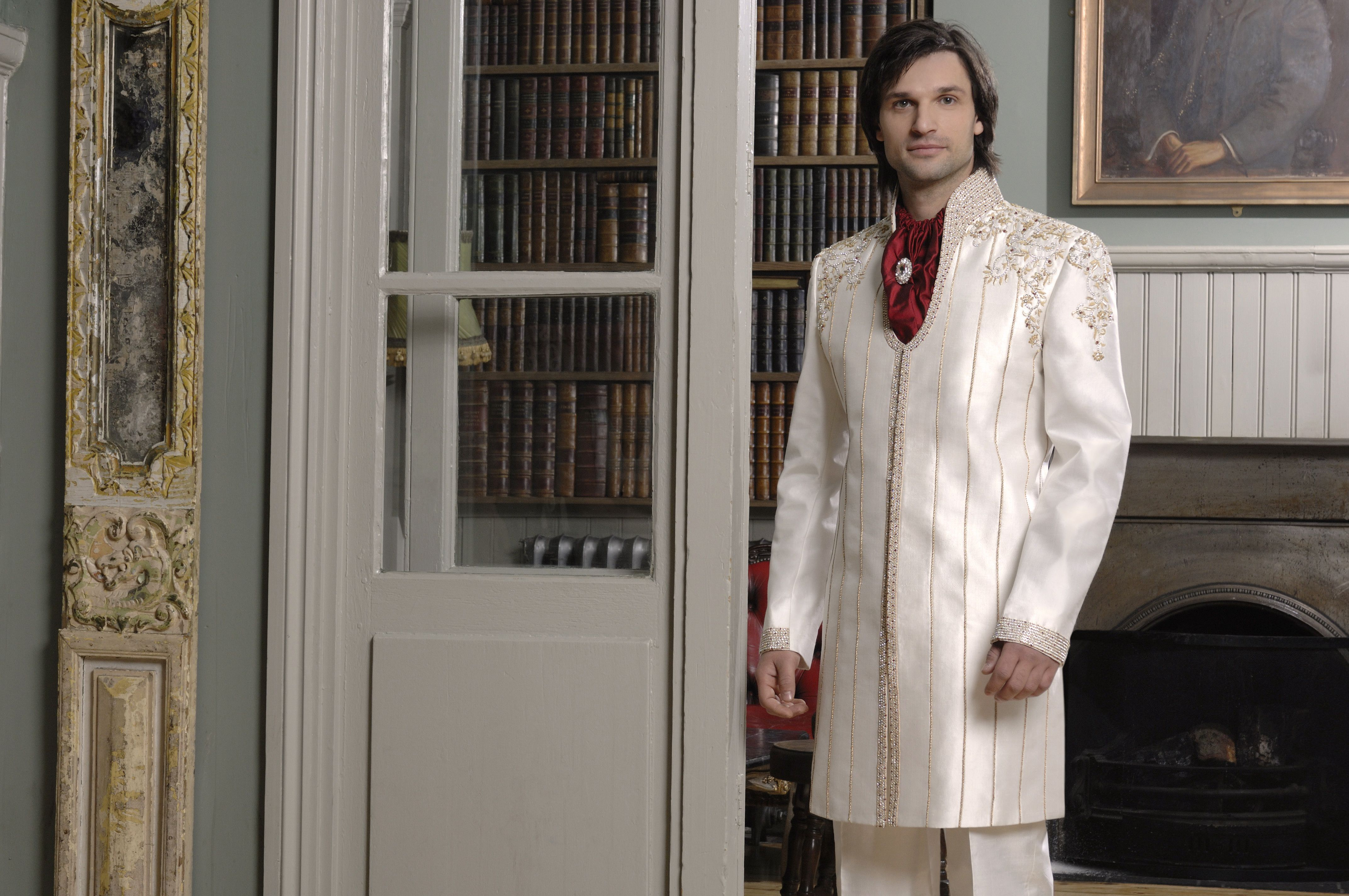 Mt ivory raw silk grooms fusion sherwani with gold piping red
