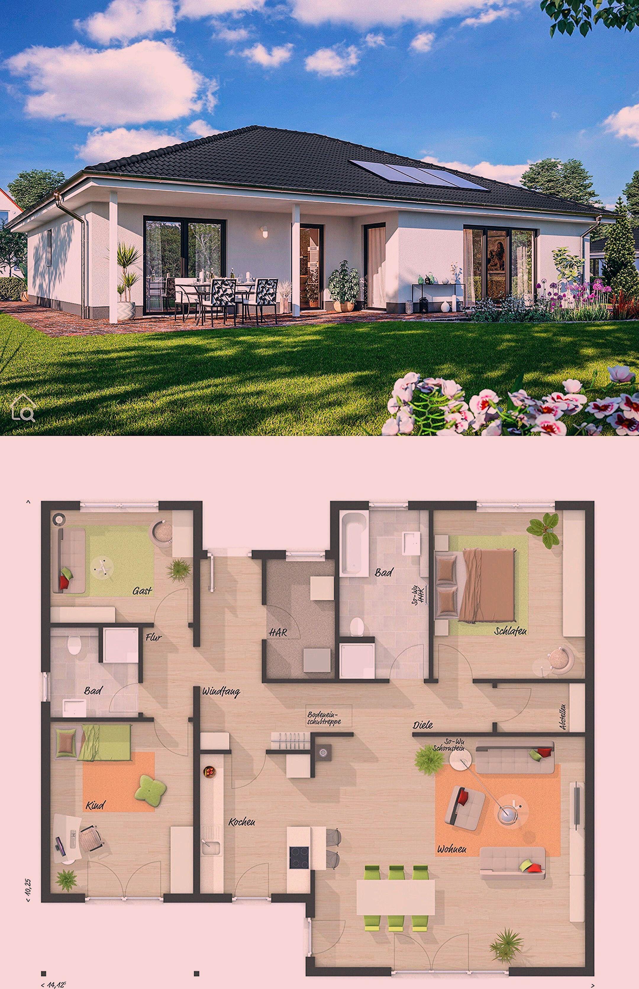 Photo of Bungalow Haus mit Walmdach Architektur & 4 Zimmer Grundriss, 130 qm gross, recht…,  #Archit…