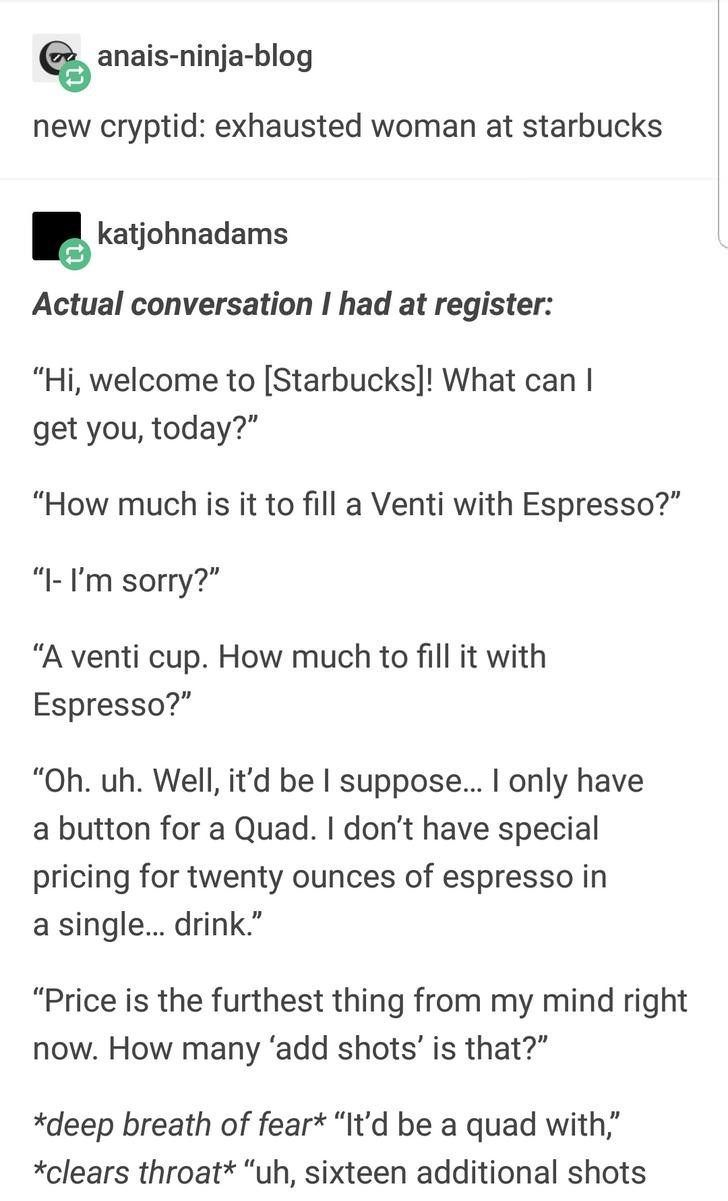 Tumblr Thread About Starbuck's Customers Insanely