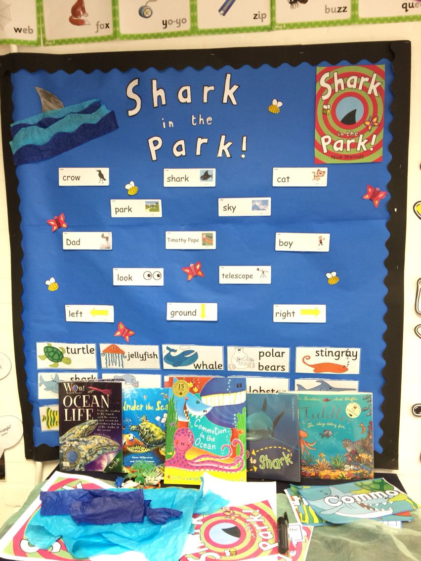 Shark in the park display | Teaching ideas | Pinterest | Shark, EYFS ...
