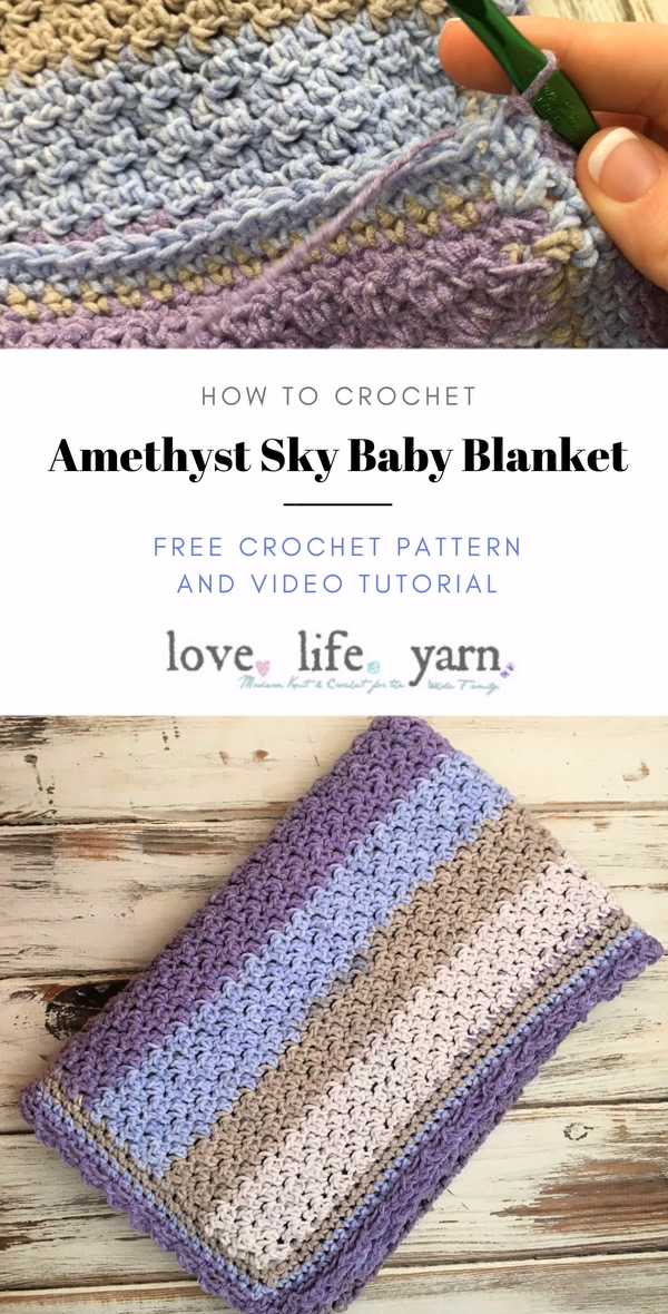 Photo of Amethyst Sky Baby Blanket – Free Crochet Pattern