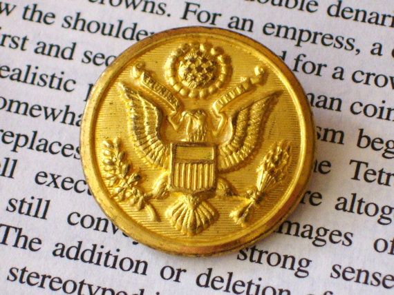 WWI Scovill Waterbury Brass US Army Military Jacket Button, Great